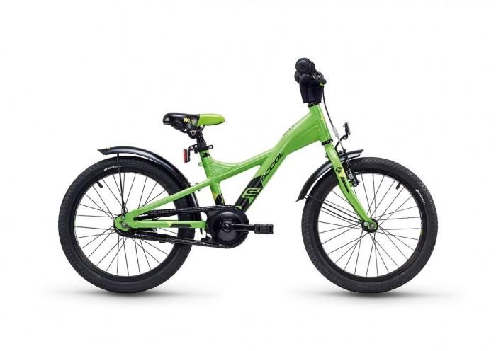 Велосипед двухколесный Scool XXlite 18XXlite 18Детский велосипед Scool XXlite 18 для детей с ростом от 110 см от 5-и лет. Велосипед собран на современной облегченной раме и имеет все необходимое: регулировка подъёма руля по высоте для выбора оптимальной посадки, полноразмерные металлические крылья для лучшей защиты от грязи.   Защитный кожух на цепь предотвращает попадания штанов в систему. Классический педальный тормоз, плюс ручной тормоз переднего колеса.   Вес - 10.2 кг Размер колёс - 18 Рама велосипеда - S'COOL Junior XX 18 6061 alloy  Вилка - HiTen Тип тормозов - Ножной Количество скоростей - 1 Руль - Junior Uprise 450 mm black Обмотка руля/грипсы - Softgrip 100 mm buffle protection  Вынос - with Crash pad Neopren Тормозные ручки - Kids ajustable Передний тормоз - V-Brake+Power Adjuster Задний тормоз - Coaster brake Передняя втулка - JY 16 H, alloy black  Задняя втулка - Coaster brake Обода колес - LA-07 alloy black Покрышки - S'COOL Cube 18 x 1.75 Reflex Logo Кассета - 18 T Каретка - VP-BC 73 Compact Система - SOFOH 32 T, 114 mm, black Педали - VP-220 Ball-bearings Крылья - S'COOL Junior Design steel color Подседельный штырь - YP 27.2 mm, black<br>