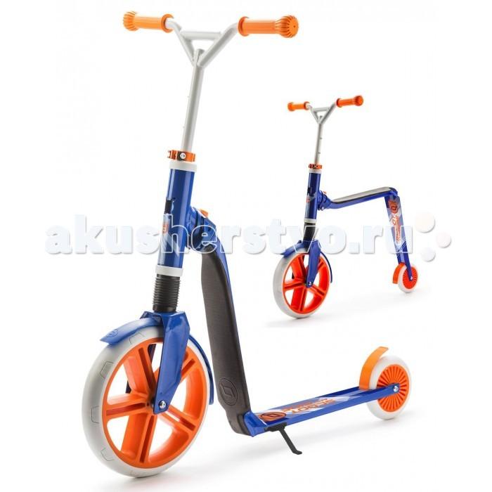 Двухколесный самокат Scoot&amp;Ride Highway Gangster беговел 2 в 1Highway Gangster беговел 2 в 1Scoot&Ride Highway Gangster – это самый большой трансформер в линейке Scoot&Ride. Он рассчитан на детей постарше - от 5 лет и более. Кататься на нем будет удобно и подросткам, поскольку он выдерживает максимальный вес до 80 кг. Думаете, что Ваш ребенок уже вырос из всех беговелов? Как бы ни так! На Хайвэй Гангстер ребенок сможет наслаждаться катанием без педалей до 10 и более лет!  Трансформация с помощью кнопки-рычажка из беговела в самокат и обратно. Накатавшись на самокате детишкам захочется присесть и передохнуть. Имея этот беговел не нужно искать для этого лавку. Достаточно просто перевести трансформер в режим беговела и присесть в любом месте. Можно также скатится с небольшой горки или поиграть с друзьями в догонялки.  Высота руля регулируется в диапазоне 75-87 сантиметров. Руль усиленный, рассчитанный на трюки (BMX) и быстрое катание. Высота сиденья от земли - 50 см.  Большое, необычное колесо из ПВХ, задний тормоз и даже подножка! У данного самоката беговела 2 в 1 есть все необходимое для развлечения Вашего малыша.  Особенности: Революционная разработка из Германии Великолепное решение 2 в 1 Отличное развлечение для подростков и детей постарше Трансформируется всего за 2 секунды Надежная конструкция Мягкое сиденье с подкладкой из кож.зама Большое и мощное переднее колесо из ПВХ Усиленный руль, регулируемый по высоте (стояние, сидение) Задний тормоз Складная подножка Вес трансформера - 5 кг.<br>