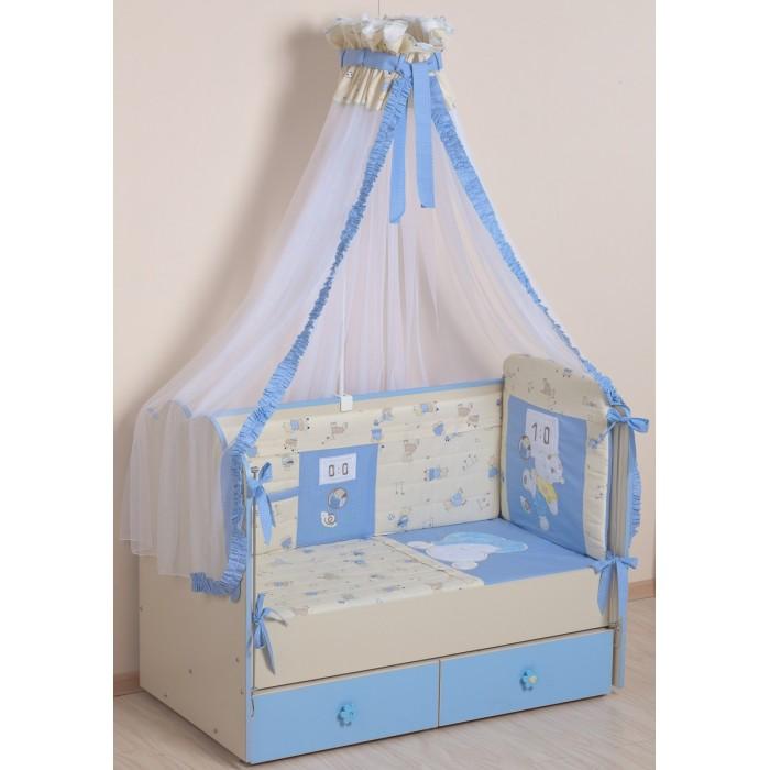 Комплект в кроватку Селена (Сдобина) Соня (7 предметов)Комплекты в кроватку<br>Комплект в кроватку Селена (Сдобина) Соня (7 предметов) станет настоящим украшением любой детской и подарит малышу много сладких снов.   В комплекте:  Одеяло: 110х140 см. Материал: Бязь (100% хлопок). Наполнитель: холлкон 200 г/м#178; Подушка: 40х60 см. Материал: Бязь (100% хлопок). Наполнитель: холлкон 200 г/м#178; Бампер: 360х40 см (на весь периметр кроватки). Раздельный, состоит из 4х частей, съемный чехол. Материал: бязь (100% хлопок). Наполнитель: холлкон 500 г/м#178;  Балдахин: 500х170 см. Изготовлен для установки на подпору категории Макси. Материал: тюль (сетка) с отделкой из х/б ткани Пододеяльник: 110х140 см. Материал: Сатин (100% хлопок), сатин-жаккард (100% хлопок) Наволочка:40х60 см. Материал: бязь (100% хлопок) Простынка на резинке для матраса размером 60х120 см., высотой 5-15 см. Материал: бязь (100% хлопок).