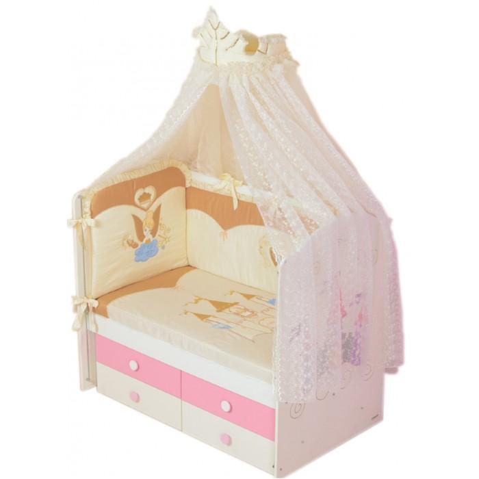 Комплект в кроватку Селена (Сдобина) Принцесса (7 предметов)Принцесса (7 предметов)Очаровательный комплект постельного белья от компании Сдобина Принцесса станет прекрасным украшением для вышей детской.  Комплект в кроватку 7 предметов: 1. Одеяло – 110х140 - (бязь — хлопок 100 %; наполнитель - холлофайбер); 2. Подушка – 40х60 - (бязь — хлопок 100 %; наполнитель - холлофайбер); 3. Бампер – раздельный - 4 части (360см), съемный чехол - (сатин — хлопок 100 %; наполнитель - холлофайбер); 4. Балдахин - тюль (органза с вышивкой) с отделкой из х/б ткани – (стандарт 500х170); 5. Пододеяльник – 112х142 - (сатин — хлопок 100 %); 6. Простынка с резинкой - (сатин — хлопок 100 %); 7. Наволочка – 42х62 - (сатин — хлопок 100 %).<br>