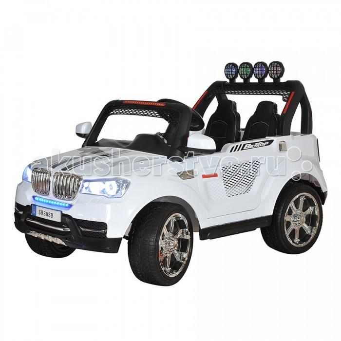 Электромобиль Shine Ring 12V/Ahх212V/Ahх2Shine Ring Электромобиль 12V/Ahх2 SR8089-B  Большие надувные колеса этого электромобиля с внушительным дизайном легко справляются с бездорожьем и грунтом. Батарея 12V/10Ah обеспечит продолжительную прогулку, а скрасят её звуковые и световые эффекты. Электромобиль оснащён специальным разъёмом для подключения mp3-плеера,  может двигаться вперед и назад. Имеет две скорости вперед (для обеспечения максимальной плавности при трогании с места). Большей достоверности придают все детали настоящего автомобиля - 2 открывающиеся двери, ремни безопасности и амортизаторы.<br>