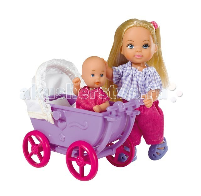 Куклы и одежда для кукол Simba Кукла Еви с малышом на прогулке куклы и одежда для кукол simba кукла еви и тимми на аттракционах 12 cм