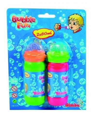 Мыльные пузыри Simba Мыльные пузыри Bubble Fun 2шт. по 60 мл paddle bubble 278213 мыльные пузыри 60 мл с набором ракеток