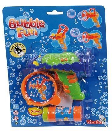 Мыльные пузыри Simba Набор мыльных пузырей Bubble Fun 55 мл с пистолетом paddle bubble 278213 мыльные пузыри 60 мл с набором ракеток