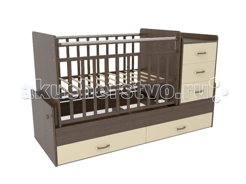 Кроватка-трансформер СКВ Компани СКВ-5 54403 поперечный маятникСКВ-5 54403 поперечный маятникКровать детская СКВ-5 54403 поперечный маятник это кровать-трансформер с поперечным маятниковым механизмом. подходит для детей с рождения до 10 лет кроватка с комодом трансформируется в подростковую кровать. Комод можно установить как с правой, так и с левой стороны. Два нижних выдвижных ящика на направляющих. Такая конструкция удобна тем, что не взаимодействует с покрытием пола, а перегородка между ящиками придает кроватке дополнительную жёсткость.  Особенности: маятниковый механизм поперечного качания 2 уровня основания опускающаяся боковина механизм опускания: кнопка комод с 3 ящиками выдвижные ящики в нижней части кровати (открытые) Для производства кроватей используются только экологически чистые материалы – безвредные для малыша. Деревянные элементы изготовлены из массива северной берёзы, обработка которой осуществляется на территории предприятия.   Детали из ламинированной ДСП (древесно-стружечная плита) изготавливаются из высококачесвенных плит, соответствующих стандартам безопасности. Окрашивание мебели (включая внутренние видимые поверхности) осуществляется безвредными материалами компании в строгом соответствии с требованиями сертификации.   В нашей мебели используются качественные фурнитура и комплектующие российского и итальянского производства.<br>