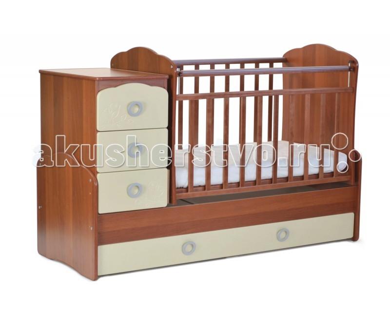 Кроватка-трансформер СКВ Компани СКВ-9 Птички маятник поперечный