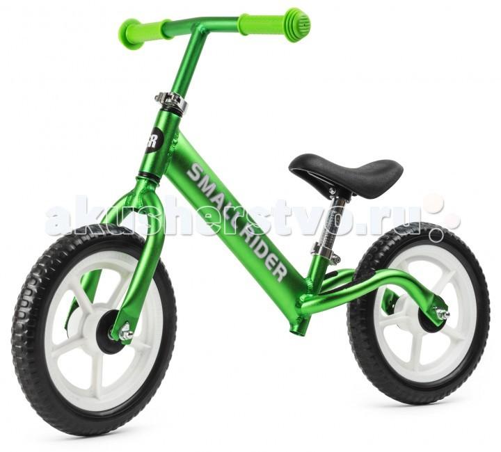 """Беговел Small Rider Foot Racer LightFoot Racer LightSmall Rider Foot Racer - это самый легкий беговел классического, полноценного строения (без пластмассового корпуса). Теперь данный беговел выпускается из настоящего алюминия, и легко понять его отличие от всех других беговелов.   Его вес меньше двух килограмм! 1.9 кг - это вес легкого трехколесного самоката типа """"mini"""". Фантастика, но это возможно! Возьмите его в руки - и сразу все поймете.  Представьте насколько комфортно и легко будет кататься малышу и отталкиваться от земли и как комфортно потом нести беговел с прогулки до дома!  В отличие от других беговелов с надписями """"alu"""" или """"aluminium"""" Смолл Райдер Фут Рейсер сделан действительно из алюминия, а не сплава со сталью. Это понятно с первого прикосновения.  Эффектный внешний вид. Шикарная и эфектная покраска """"металлик"""" делает его зрелищным, заметным и переливающимся на солнце.  Чтобы максимально уменьшить вес (и увеличить Ваш комфорт) у беговела идут колеса из полимерного материала (ПВХ). Они мягко катятся (это не пластмасса), не прокалываются и легко управляются.  Сиденье и руль легко регулируются по высоте. Сиденье удобное, мягкое. Высота оптимальная для катания детей от 1,5 до 4 лет.  Настоящий шедевр. Помимо невероятной легкости, красивых цветовых решений, строение рамы очень эргономично и оптимально для отталкивания ногами. Конструкция выверена и доведена до совершенства. Это """"классический"""" или """"настоящий"""" беговел, на котором идеально учиться балансировать, развивать координацию движений ребенка и гонять с друзьями на перегонки!<br>"""