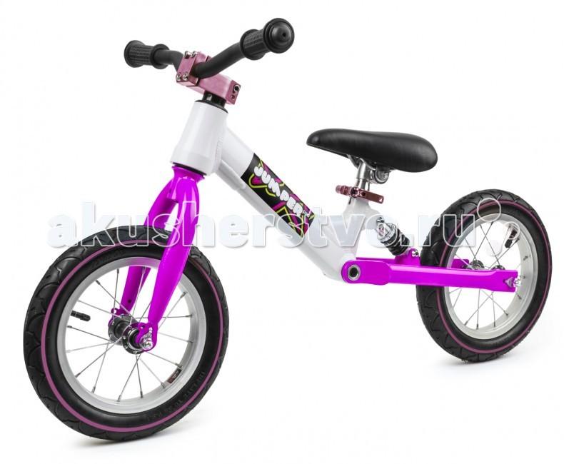 """Беговел Small Rider Jumper Pro с амортизаторомJumper Pro с амортизаторомПредставляем новую современную модель - беговел Small Rider Jumper Pro для самых требовательных и активных маленьких гонщиков.   Наличие заднего амортизатора. Потрясающая инновация состоит в том, что данная модель имеет не резиновую прокладку-имитацию, а настоящий полноценный пружинный задний амортизатор на сиденье. Амортизатор смягчает ямки, кочки, брусчатку, стыки плит и прочие неровности дороги.  Повышенный комфорт. Комбинация заднего амортизатора сиденья с надувными колесами дает невероятный комфорт, плавность хода и легкость катания. Колеса имеют 12 радиус и обода со спицами, их легко подкачивать.  Элитный внешний вид. Кроме того, беговел имеет """"спортивный руль"""", а также регулируемое по высоте мягкое сиденье, для настройки которого не требуется специальный инструмент. Элитные надувные колеса на хромированных спицах, стильные, покрашенные в цвет беговела зажим и фиксатор руля, а также комбинации цветов рамы и передней вилки делают его внешний вид изысканным и неповторимым.   Красивые цветовые решения. Для выбора доступны несколько цветов: зелено-белый, розово-белый и сине-белый. Рекомендованный возраст для катания на беговеле: от 3-х до 6 лет. Максимальная нагрузка - 30 кг.   Если Ваш малыш любит повышенный комфорт и активное катание на беговеле, то Смолл Райдер Джампер Про - это модель для Вас!  Мин.высота от пола до сиденья 41 см Макс.высота от пола до сиденья 47 см<br>"""