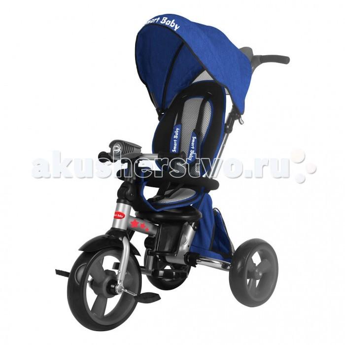 Велосипед трехколесный Smart Baby складной TS2складной TS2SmartBaby Велосипед трехколесный TS2. Складная модель для активных родителей.  Складная рама позволяет складывать и перевозить велосипед Складная крыша из плотной ткани Удобная телескопическая родительская ручка управления с подстаканником Вместительная тканевая сумка-баул для игрушек Большие пластиковые подножки-лепестки для самых маленьких и классические складные подножки Большой багажник с тканевой крышкой  Стильная сумочка для мелочей на замочке. Фара с кнопками включения света и звука двигателя.  Поворотное сиденье лицом к маме и лицом по ходу движения: Сиденье фиксируется на раме, легко снимается с помощью двух кнопок, расположенных снизу сиденья Три положения наклона спинки, максимальный наклон 120 градусов.  Разъемный бампер безопасности Трехточечный ремень безопасности Складной руль. Мягкие колеса EVA диаметром 12 и 10 дюймов: Свободный ход переднего колеса Тормоз задних колес.  Максимальная нагрузка 35 кг.<br>