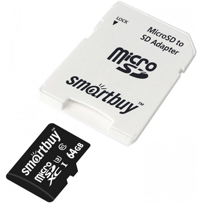 Smart Buy Карта памяти MicroSDXC 64GB PRO U3 Class 10 c адаптером SD