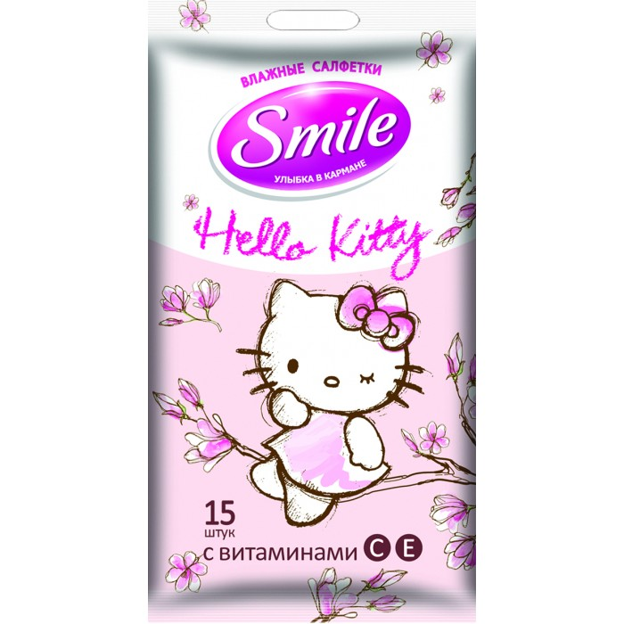 Салфетки Smile Салфетки влажные Hello Kitty 15 шт. cxzyking 20cm sweet new kt cat hello kitty plush toys cute hug mushroom hello kitty kt cat pillow dolls for kids baby girl gift