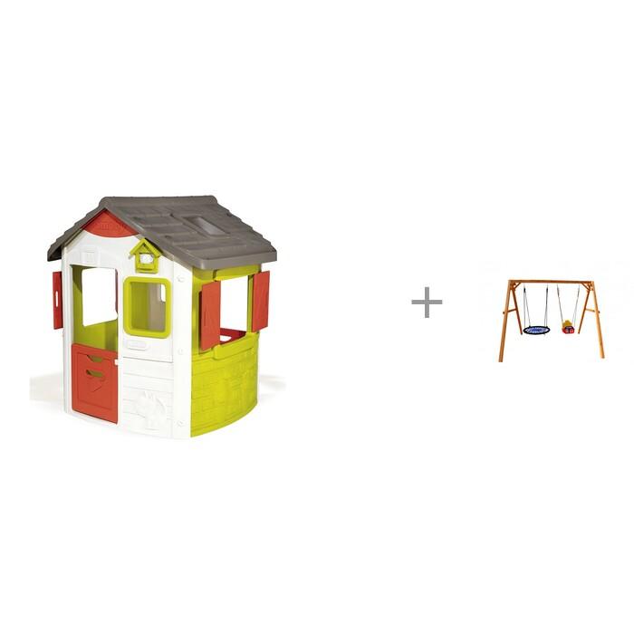 Купить Игровые домики, Smoby Игровой домик Jura Neo и качели Можга (Красная Звезда) деревянные со спинкой