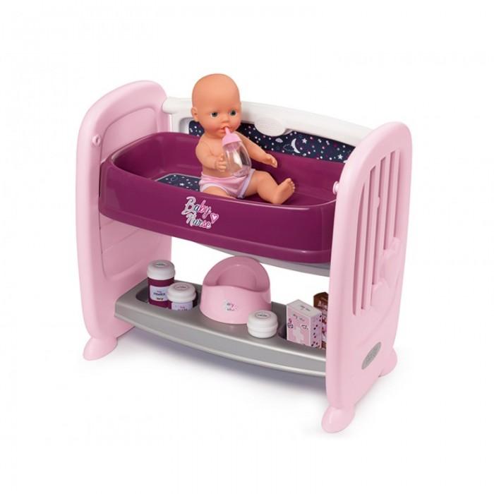 Кроватка для куклы Smoby с регулируемой высотой Baby Nurse 2 в 1 (14 аксессуаров)