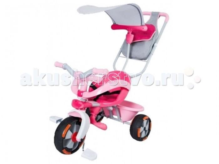 Велосипед трехколесный Smoby Baby driver confortBaby driver confortТрехколесный велосипед Smoby Baby driver confort – это не просто велосипед, он способен заменить прогулочную коляску ребенку, которому исполнилось 10 месяцев.   Этот трехколесный велосипед обладает большим функционалом и трансформируется по мере роста крохи. Пока малыш не овладеет навыками езды на велосипеде, родители могут катать ребенка, используя удобную съемную ручку, с помощью которой велосипед поворачивается в нужном направлении.  Как только малыш вырастет, дополнительные элементы убираются: подставка для ног, защитное кольцо, родительская ручка, игрушечный руль и подголовник. Дополнительным преимуществом данной модели является наличие корзины для игрушек, защитного козырька, родительской сумки.  При изготовлении велосипеда используется экологически чистый и особо прочный пластик, а также металл и резина.   Особенности:   Прочная металлическая рама;  комфортное сидение эргономической формы, регулируемое в трех положениях (ближе-дальше);  съемные трехточечные ремни безопасности;  съемный барьер безопасности;  съемная подставка для ног;  съемный подголовник;  съемный игрушечный руль;  съемный козырек;  регулируемый по высоте руль;  прорезиненные колеса (с возможностью блокировки);  объемная багажная корзинка;  сумка для родителей;  максимальная нагрузка: 20 кг.   Катание на велосипеде развивает у ребенка координацию движений, укрепляет мышцы ног, учит ориентироваться в пространстве, формирует начальные навыки вождения.  Размеры велосипеда (вxдхш): 66,5х55х51,5 см. Вес: 6,25 кг.<br>