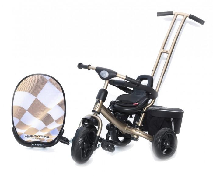 """Велосипед трехколесный Vip Toys Luxe Trike NextLuxe Trike NextВ данной модели мы воплотили пожелания наших покупателей, которые хотят сэкономить при этом, они не теряют в качестве и функциональности. Модель Lexus Trike Next является, современной  и комфортной, которая подойдет абсолютно всем детям (от 12 месяцев до 4.5 лет) и их родителям. Преимущества велосипеда трудно не заметить: сидение с мягкой накладкой, родительская ручка управляет передним колесом, мягкие, бесшумные колеса, подножки расположенные под рамой. Трехмерное изображение на козырьке подчеркивает индивидуальность и уникальность. Такой дизайн, выделит велосипед и без сомнения не оставит равнодушным никого.   Удобное анатомическое сидение для детей от 12 месяцев  с мягкой подушечкой. Данная подушечка выполнена из полностью гипоаллегенного материала, сидение изготовлено  из пластика Сидение регулируется в 3 положениях вперед-назад по горизонтали по мере роста малыша Сиденье можно установить в 2-х положениях: """"лицом к дороге"""" и """"лицом к маме"""". Рама велосипеда металлическая, изготовлена из высокопрочной, углеродистой стали что позволяет выдерживать нагрузку до 120 килограмм. Качественное многослойное покрытие краской с перламутровым отливом обеспечивает безупречный вид и стойкость к воздействию окружающей среды на долгие годы. Защитный тент-козырек позволяет защитить малыша от попадания прямых солнечных лучей, благодаря регулировке в нескольких положениях. Козырек изготовлен из самых современных материалов. Колеса не требуют подкачки, изготовлены из вспененной резины они, широкие, мягкие, тихие и бесшумные. Они очень тихие на любом покрытии, даже на песке вы сможете легко проехать, так что ваш ребенок не проснется. Родительская ручка, управляет передним колесом,  регулируется по высоте в 3-х положениях  по высоте.  Данная функция, позволяет настроить велосипед  каждому родителю индивидуально для себя, не смотря на рост. Помимо этого ручка съемная, когда ребенок подрастет, вы можете снять ее полностью.   П"""