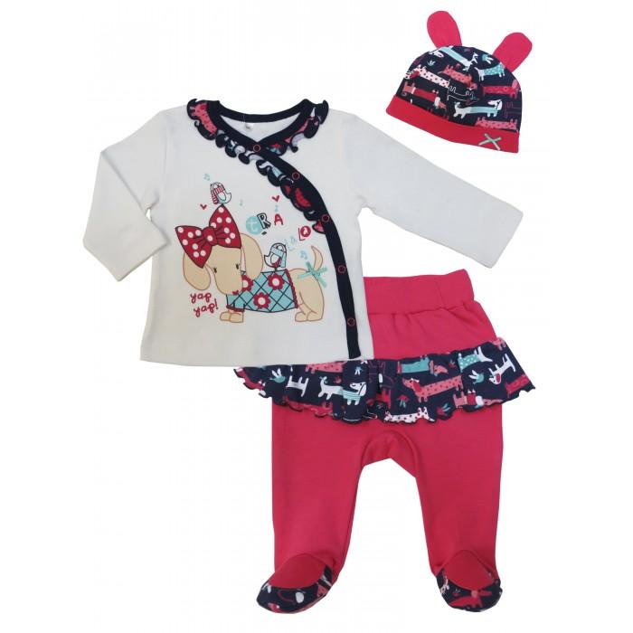 Комплекты детской одежды Soni Kids Комплект (кофточка, ползунки и шапочка) Прогулка с Мими комплекты детской одежды soni kids комплект майка и шорты веселый зоопарк