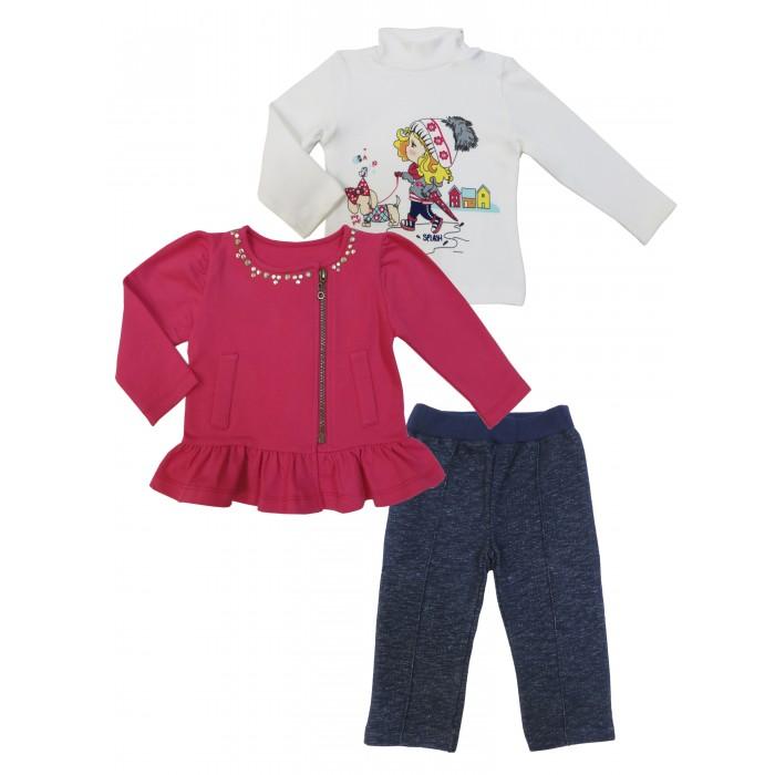 Soni Kids Комплект (водолазка, толстовка и брюки) Прогулка с Мими З7121029Комплект (водолазка, толстовка и брюки) Прогулка с Мими З7121029Soni Kids Комплект Прогулка с Мими (водолазка, толстовка и брюки) З7121029 это набор детской одежды для девочек розового, белого и темно-синего цвета, изготовленный из хлопка.   Такая одежда отлично подойдет для осуществления прогулок и проведения времени на природе, поскольку ткань комплекта дышащая и безопасная для кожи малыша.  Комплект: водолазка, толстовка, брюки Состав: 100% хлопок (интерлок) Рекомендации по уходу: стирка при 30 градусах<br>