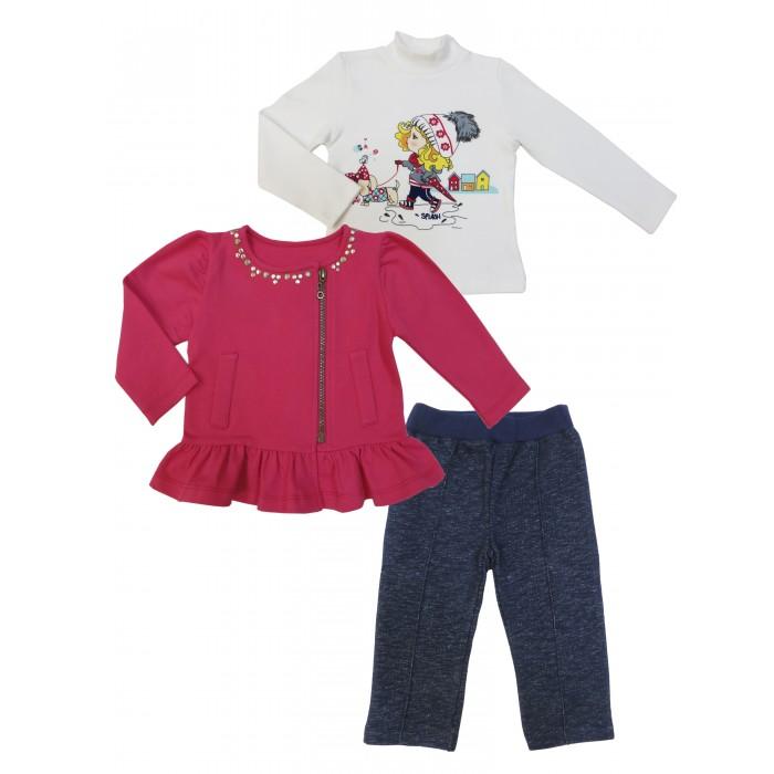 Soni Kids Комплект (водолазка, толстовка и брюки) Прогулка с Мими З7121030Комплект (водолазка, толстовка и брюки) Прогулка с Мими З7121030Soni Kids Комплект Прогулка с Мими (водолазка, толстовка и брюки) З7121030 это набор детской одежды для девочек розового, белого и темно-синего цвета, изготовленный из хлопка.   Такая одежда отлично подойдет для осуществления прогулок и проведения времени на природе, поскольку ткань комплекта дышащая и безопасная для кожи малыша.  Комплект: водолазка, толстовка, брюки Состав: 100% хлопок (интерлок) Рекомендации по уходу: стирка при 30 градуса<br>