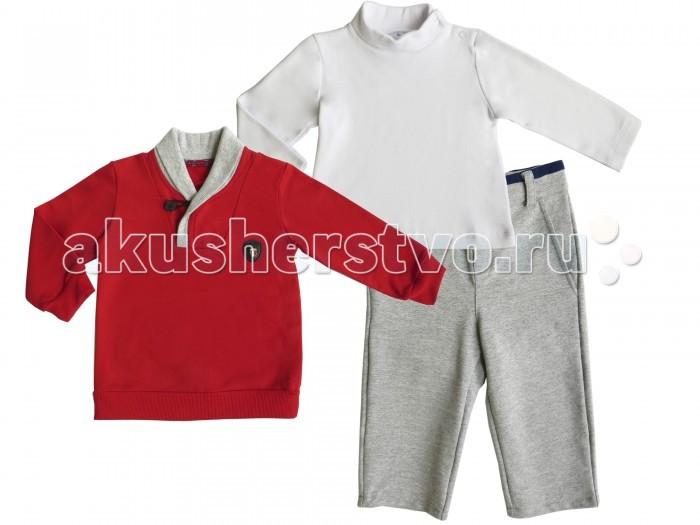 Soni Kids Комплект Спортивная Академия (водолазка, джемпер и брюки)Комплект Спортивная Академия (водолазка, джемпер и брюки)Комплект Спортивная Академия прекрасно подойдет мальчикам как для прогулок, так и для дома. Все предметы одежды выполнены из натуральных материалов и обладают оптимальными гигиеническими и эксплуатационными свойствами для детских изделий.   Застежки-кнопки на плечевом шве водолазки облегчат ее надевание и предотвратят растягивание горловины. Резинка, вшитая в пояс штанишек, позволяет им отлично садится на фигуру, не сковывая движений даже активных малышей. Джемпер послужит прекрасным дополнением в прохладное время года.   Сочетание красного, серого и белого цветов придают комплекту оригинальность и возможность комбинировать их с другими элементами гардероба ребенка.  Качественный пошив и удобный фасон гарантируют ребёнку комфорт в течении всего дня.  Состав: водолазка - 100% хлопок (интерлок), джемпер и брюки - футер - 95% хлопок, 5% лайкра Рекомендации по уходу: стирка при 30 градусах<br>