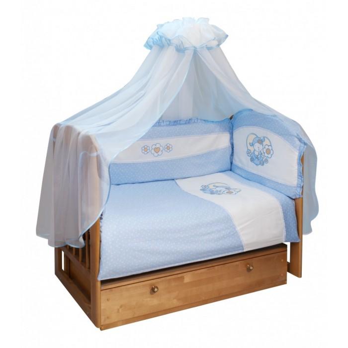 Комплект в кроватку Soni Kids Овечка (7 предметов)Овечка (7 предметов)Очень красивый высококачественный комплект в кроватку, состоящий из 7 предметов.   Ткань: сатин.  Состав: 100% высококачественный хлопок.  Наполнитель: холлофайбер. Балдахин: вуаль или сетка 100% п/э.  Размеры: Пододеяльник- 140х110  Простынка на резинке - 150х90 Наволочка -60х40  Одеяло -140х110  Подушка -60х40  Балдахин -420х165  Бортик -360х44<br>