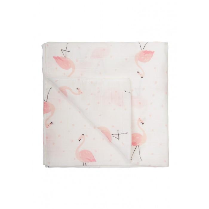 Пеленка Сонный гномик муслин Фламинго 120х120 см фото
