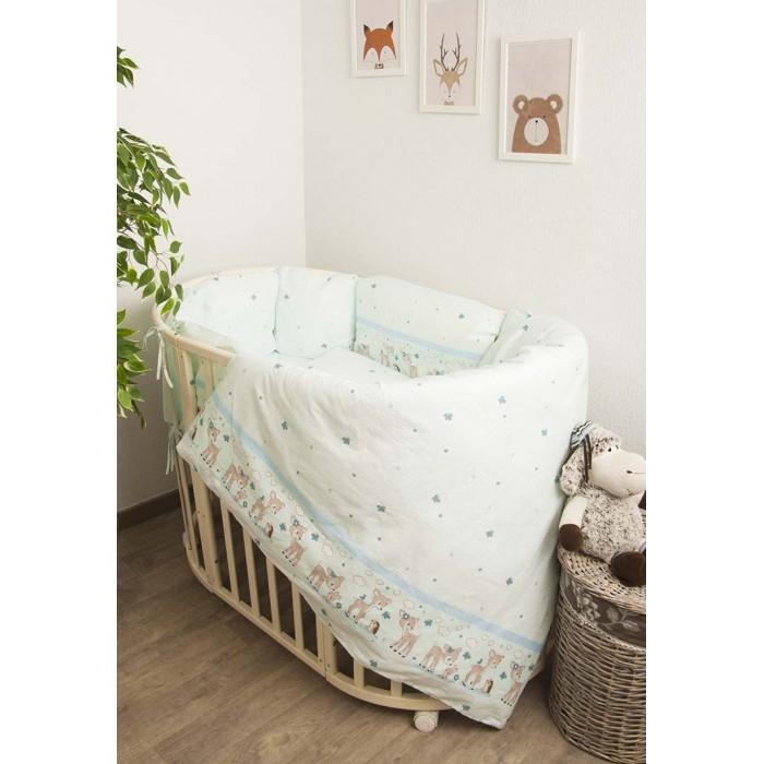 Купить Комплекты в кроватку, Комплект в кроватку Сонный гномик Оленята с бортами-подушками (6 предметов)