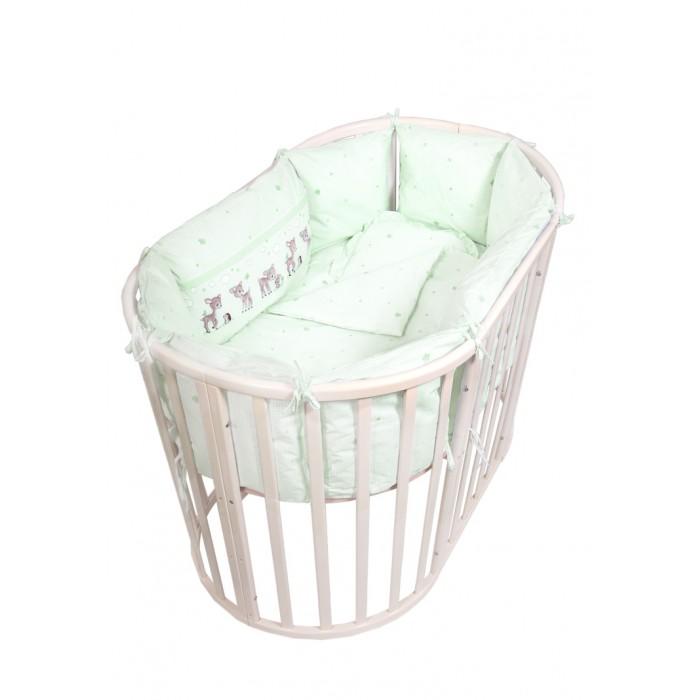 Купить Комплекты в кроватку, Комплект в кроватку Сонный гномик Оленята с бортами-подушками (7 предметов)