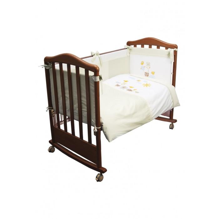 Комплект в кроватку Сонный гномик Пикник (6 предметов)Комплекты в кроватку<br>Комплект кроватку Сонный гномик Пикник (6 предметов) для новорожденного.  Особенности: Невероятно красиво: стильная вышивка и изящное кружево Бортики на все стороны кроватки, постельное бельё, одеяло и подушка Съёмные чехлы на молнии - гарантирован простой уход Отборный сатин из Европы Простынка на резинке, подойдет на любой матрас Настоящий длинноволокнистый хлопок, гипоаллергенные красители Нити высокой прочности, оптимальная плотность переплетения Прослужит долго, выдержит более 300 стирок Ткани и наполнители сертифицированы в Германии OekoTex Standard100 class1, для новорожденных.  Комплектация: Наволочка, подушка, простынь на резинке, пододеяльник, одеяло, борт со съемным чехлом на молнии из 4 частей для кроватки 120х60 Размер, см: Наволочка: 60х40, Подушка: 60х40, Простынь: 100х140, Пододеяльник: 110х140, Одеяло: 110х140, Борт, ДхВ: 360х42, Материал верха: Сатин (100% Хлопок) Наполнитель: Подушка: Бамбук (плотность 20г/кв.м), Одеяло: Бамбук (плотность 250г/кв.м), Борт: Холлофайбер Хард (плотность 400г/кв.м)