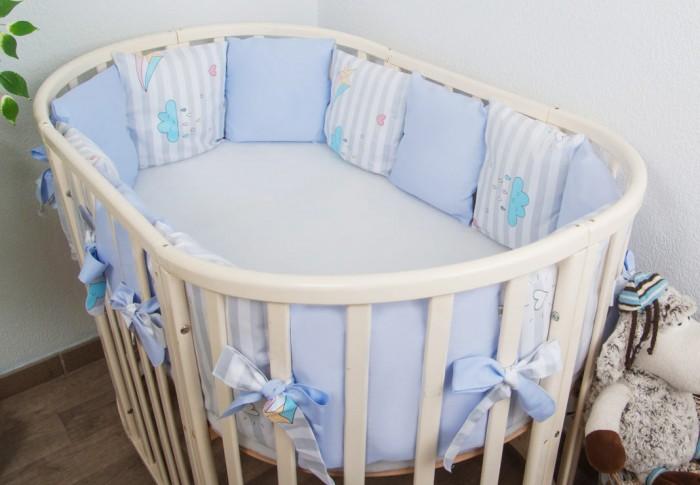 Бортики в кроватку Сонный гномик Серебряная нить подушки