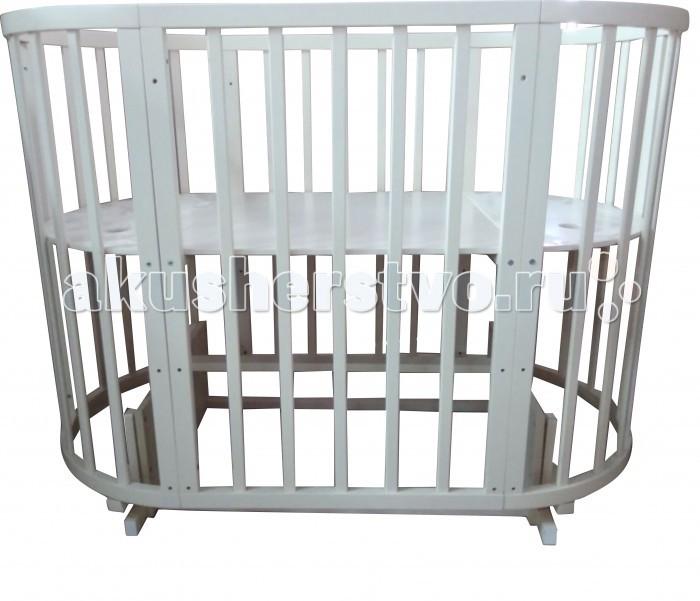 Кроватка-трансформер Соня 04 Овальная 8 в 1 маятник поперечный 65х125 см