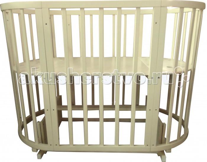 Кроватка-трансформер Соня 04 Овальная 8 в 1 маятник поперечный 75х125 см