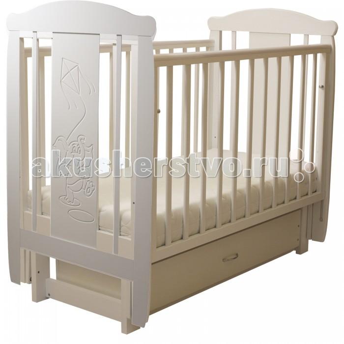 Детские кроватки Соня 05 Слоник со змеем с ящиком (продольный маятник) детские кроватки фея 603 с ящиком