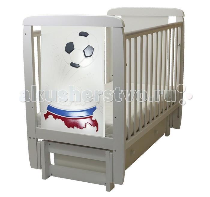 Детская мебель , Детские кроватки Соня 05 Триколор 3D с ящиком (поперечный маятник) арт: 458656 -  Детские кроватки