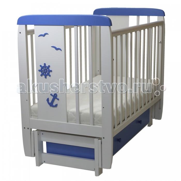 Детская мебель , Детские кроватки Соня 05 Юнга 3D с ящиком (поперечный маятник) арт: 458696 -  Детские кроватки