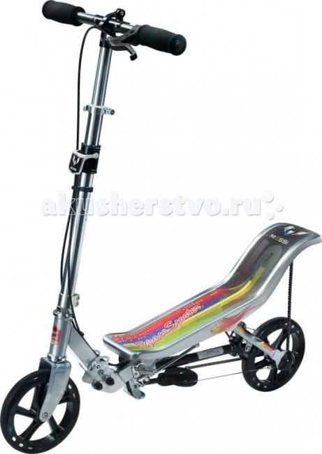 """Двухколесный самокат Space Scooter LM580LM580Самокат Space Scooter LM580 - это космические ощущения невесомости! При катании на нем в режиме педального (цепного привода) не нужно вообще касаться поверхности. Это по сути самокат велосипед. Цепной механизм работает так, что Вы движетесь за счет раскачивания взад-вперед.  Особенности: Т-образный руль; широкая дека с изгибом; благодаря пневматической подвеске катание на самокате по настоящему комфортно; уникальная конструкция позволяет быстро освоить управление этим самокатом; небольшой вес и размеры в сложенном виде; быстро складывается и раскладывается, без дополнительных инструментов, благодаря рычажной подвеске """"Quik folding""""; ручной тормоз; практически бесшумная система привода с двойными опциями (уникальная технология Step en Space Scooter™); удобная подножка для расположения самоката в вертикальном положении; высокоскоростные подшипники ABEC-7; имеет сертификаты безопасности CE-EN71/ASTM-F963. максимальный вес — 90 кг; от 8 лет и для взрослых; подходит для городского прогулочного катания (НЕ рекомендуется для экстремального катания).  Правила ухода: Самокаты предполагают использование в сухую погоду на ровной асфальтированной поверхности. При попадании в дождь или катании по песку рекомендуется прочистить детали: Цепь обрабатывается сухим аэрозолем, маслянистого вида, для цепей. Подшипники прочищаются и смазываются силиконовой смазкой. Внимание! При несоблюдении правил ухода за товаром самокат снимается с гарантийного обслуживания.  Параметры:  вес самоката — 8 кг; материал рамы, руля — сталь; материал рулевой колонки — алюминий; полиуретановые колеса — 203 мм; высота руля — 95 — 107 см; ширина руля — 49 см; длина деки — 60 см; ширина деки — 15 см; неопреновые грипсы; индивидуальная упаковка товара — коробка.<br>"""