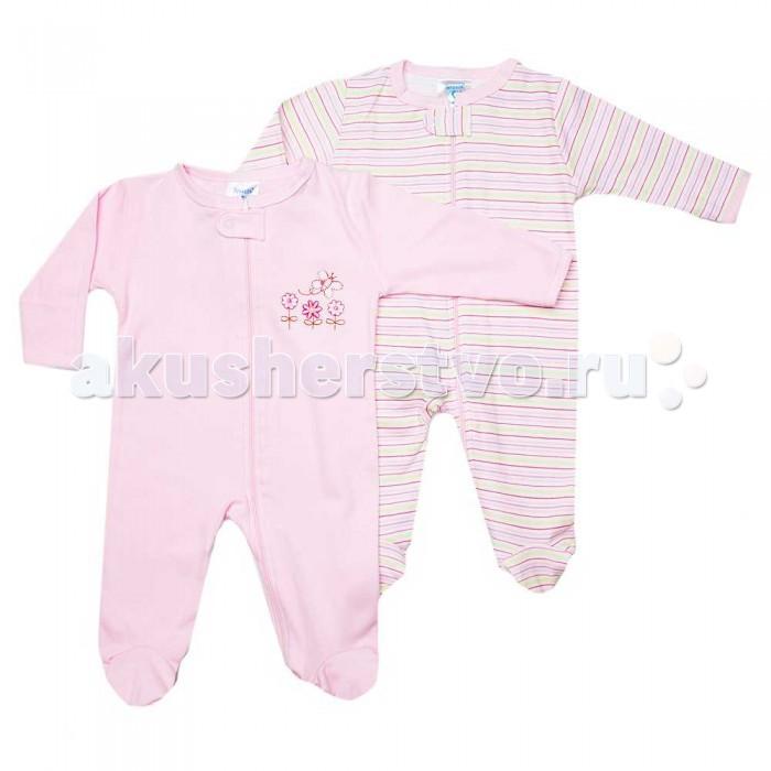 Комбинезоны и полукомбинезоны Spasilk Комбинезон на молнии Цветочки/Дино длинный рукав 2 шт. одежда для новорождённых