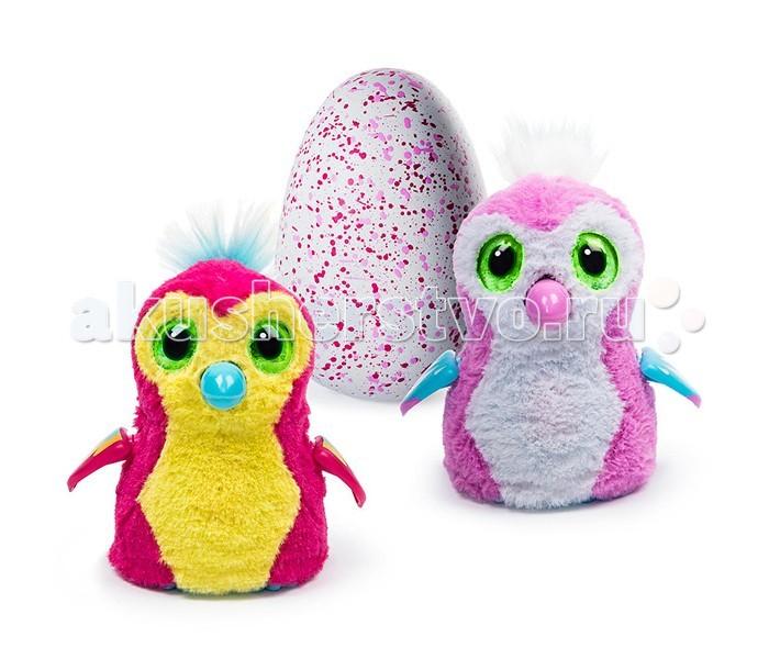 Интерактивная игрушка Spin Master Hatchimals Пингвинчик вылупляющийся из яйцаHatchimals Пингвинчик вылупляющийся из яйцаSpin Master Hatchimals Пингвинчик - интерактивный питомец вылупляющийся из яйца  Hatchimals - совершенно революционная игрушка! Это не просто интерактивный питомец - он растет и совершенствуется, как любое живое существо. Пингвинчик может оказаться ярко-розовым с желтым животиком или бледно-розовым - узнать заранее это нельзя, ведь малыш находится в яйце и еще не появился на свет! Он любит общаться, играть, о нем надо заботиться, кормить. У питомца разные стадии роста - младенец, ребенок и взрослый.  Для работы необходимо 2 АА батарейки. В комплект входят батарейки, с помощью заряда которой питомец может вылупиться. После вылупления, батарейки можно заменить.  Интерактивный пингвинчик рассчитан, в первую очередь, на девочек - поэтому его цвета такие яркие!  Характер питомца-пингвинчика беззаботный наивный дружелюбный добрый неуклюжий непоседа  Помогите своему питомцу расти и развиваться! Но сначала надо помочь птенцу вылупиться.  Когда питомец еще не вылупился.  Итак, ваш пингвинчик еще в яйце. Но это не значит, что он не реагирует на ваши действия! Приложите ухо к яйцу и услышите биение его сердца. Малыш переворачивается внутри и общается постукиванием. К яйцу нужно относиться бережно - согревать его, поглаживать.  Как помочь питомцу вылупиться?  Чем больше Вы согреваете яйцо, тем быстрее малыш появится на свет. Можно активно согревать его в течение дня, а можно растянуть процесс на более долгий срок. Все зависит от Вас!  Когда питомец будет готов вылупиться, сквозь поверхность яйца Вы увидите огоньки. Потом он будет разбивать скорлупу клювом. Здесь Вы тоже можете помочь ему, взяв на руки, поглаживая, согревая - зверек будет вылупляться еще активнее!  Зверек вылупился! Первая стадия: младенец  Издает звуки младенца. Основная ваша задача на этом этапе - заботиться о нем, кормить, согревать. Хлопки пугают его, питомец может только крутиться, забавно