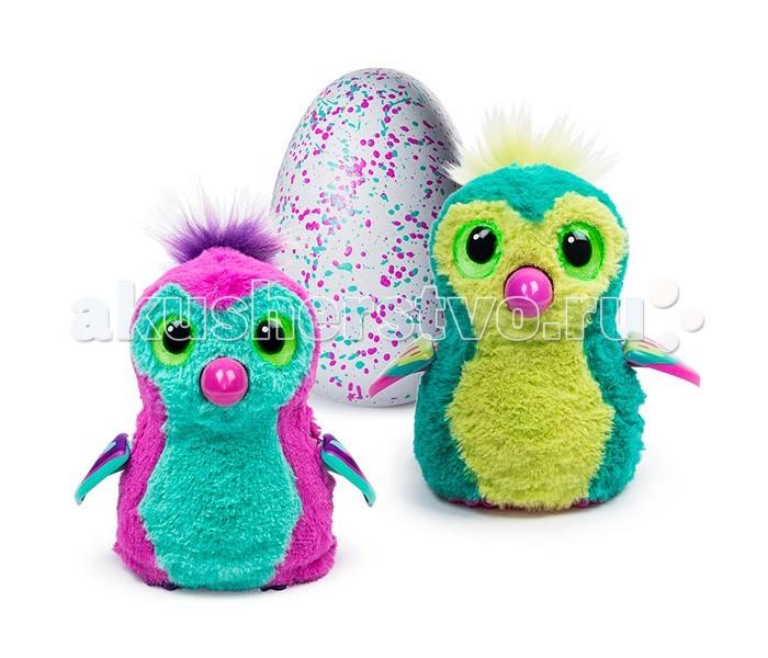 Интерактивная игрушка Hatchimals Пингвинчик вылупляющийся из яйцаПингвинчик вылупляющийся из яйцаHatchimals Пингвинчик - интерактивный питомец вылупляющийся из яйца  Hatchimals - совершенно революционная игрушка! Это не просто интерактивный питомец - он растет и совершенствуется, как любое живое существо. Пингвинчик может оказаться ярко-розовым с желтым животиком или бледно-розовым - узнать заранее это нельзя, ведь малыш находится в яйце и еще не появился на свет! Он любит общаться, играть, о нем надо заботиться, кормить. У питомца разные стадии роста - младенец, ребенок и взрослый.  Для работы необходимо 2 АА батарейки. В комплект входят батарейки, с помощью заряда которой питомец может вылупиться. После вылупления, батарейки можно заменить.  Интерактивный пингвинчик рассчитан, в первую очередь, на девочек - поэтому его цвета такие яркие!  Характер питомца-пингвинчика беззаботный наивный дружелюбный добрый неуклюжий непоседа  Помогите своему питомцу расти и развиваться! Но сначала надо помочь птенцу вылупиться.  Когда питомец еще не вылупился.  Итак, ваш пингвинчик еще в яйце. Но это не значит, что он не реагирует на ваши действия! Приложите ухо к яйцу и услышите биение его сердца. Малыш переворачивается внутри и общается постукиванием. К яйцу нужно относиться бережно - согревать его, поглаживать.  Как помочь питомцу вылупиться?  Чем больше Вы согреваете яйцо, тем быстрее малыш появится на свет. Можно активно согревать его в течение дня, а можно растянуть процесс на более долгий срок. Все зависит от Вас!  Когда питомец будет готов вылупиться, сквозь поверхность яйца Вы увидите огоньки. Потом он будет разбивать скорлупу клювом. Здесь Вы тоже можете помочь ему, взяв на руки, поглаживая, согревая - зверек будет вылупляться еще активнее!  Зверек вылупился! Первая стадия: младенец  Издает звуки младенца. Основная ваша задача на этом этапе - заботиться о нем, кормить, согревать. Хлопки пугают его, питомец может только крутиться, забавно лепечет.  Вторая стадия: ребенок  