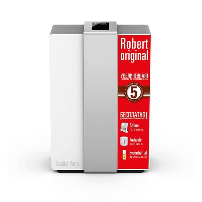 Stadler Form Мойка воздуха RobertМойка воздуха RobertStadler Form Мойка воздуха Robert – это эффективный способ улучшить качество воздуха в помещении при помощи одного прибора. Он одновременно делает воздух чище и поддерживает комфортный уровень влажности, а эти два параметра являются основными показателями качества воздуха и имеют непосредственное влияние на здоровье человека.  Сухой и загрязненный воздух с помощью вентилятора засасывается в прибор. Затем воздух попадает на вращающийся барабан с фильтрующими дисками. Основные загрязнения удаляется уже на этом этапе. Далее воздух буквально промывается водой – лучшим натуральным фильтром. Параллельно воздух насыщается водой. В результате из прибора в помещение выходит чистый и увлажненный воздух.  Большой бак 6,3 л. обеспечивает долгую работу без «дозаправки», так что пользователю не приходится постоянно вспоминать об этом. Бак можно наполнять во время работы прибора, при этом его удобно ставить на пол в вертикальном положении, а не класть, как в других моделях.  Тихая работа: низкий уровень шума работы прибора обеспечивается вентилятором барабанного типа.  Для комфортного использования в мойке воздуха предусмотрено несколько режимов: автоматический – уровень влажности поддерживается в районе 45% ручной – можно самостоятельно задать уровень влажности и скорость вентилятора ночной – вентилятор работает на минимальной скорости, прибор не слышно, подсветка приглушается самоочистка – минимизирует заботы по обслуживанию прибора. Для того чтобы прибор меньше загрязнялся накипью, он оснащен специальным картриджем Anticalc. В новом Robert Original сменный картридж против накипи входит в комплект!  Robert Original понимает жесты – в нем использована новейшая технология реакции на движение. При поднесении руки к панели управления, активируются кнопки управления основными функциями: уровень влажности, мощность и интенсивность подсветки дисплея. Управление функциями – сенсорное. В режиме ожидания прибор показывает текущую влажно