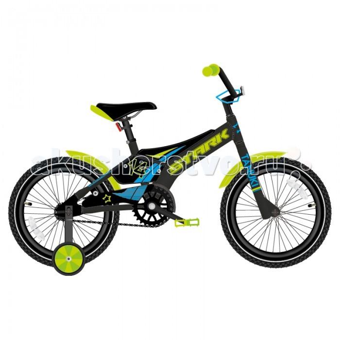 Велосипед двухколесный Stark Tanuki 14 Boy (2018)Tanuki 14 Boy (2018)Велосипед двухколесный Stark Tanuki 14 Boy (2018) для детей от 3 до 5 лет. У него установлены съемные боковые колеса, они помогут научится удерживать равновесие.   Рама изготовлена из высокопрочной стали, для безопасности от соскока на ней установлена мягкая накладка. Руль и сидение настраиваются под рост ребенка. Седло оборудовано специальной ручкой для удобной переноски велосипеда. Тормоза - ножные педальные.   В комплекте есть крылья для защиты от брызг воды, защита цепи от попадания одежды в цепь, и звонок.   Особенности: Рама: Hi-Ten steel Материал рамы: Сталь Амортизация: Жесткий Тормоз: Ножной педальный Диаметр колёс: 14 Вилка: Жесткая, стальная Количество скоростей: 1 Грипсы: Детские Передняя втулка: DC Задняя втулка: DC Система: 28T steel Кассета: 16T Цепь: TAYA Педали: Пластик Задний: тормоз Ножной Передняя покрышка: Wanda 14х2,125 Задняя покрышка: Wanda 14х2,125.<br>