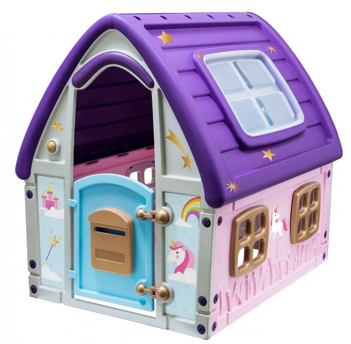 Starplast Игровой домик СказочныйИгровые домики<br>Starplast Игровой домик Сказочный  Сказочный домик от компании Starplast приведет в восторг Вашу маленькую принцессу, которая с головой погрузится в увлекательную игру, представляя себя жительницей фантазийной страны с волшебной радугой, красивыми замками и единорогами.  Особенности: Благодаря своему привлекательному и магическому дизайну домик станет украшением игровой комнаты или придомовой территории в теплое время года Фасад сказочного жилища выполнен в ярких цветах: крыша лавандового цвета, украшенная золотистыми звездочками, сиреневые и серые стенки, декорированные изображением сказочных единорогов Внутри домика ребенок с удовольствием будет проводить время, придумывая увлекательные сюжеты, принимать гостей, устраивать пикники, мечтать или фантазировать в одиночестве Домик состоит из прочных пластиковых деталей с крепежом, для его установки не требуется дополнительных приспособлений Внутри домика просторная комнатка с 4 маленькими окошками для вентиляции. Вход - арочного типа с маленькой открывающейся дверкой Личное игровое пространство станет стимулом для игр на свежем воздухе, способствующих развитию воображения, гармоничного физического развития, координации движений и ловкости Домик изготовлен из высокопрочного пластика, экологически безопасного и устойчивого к ультрафиолетовому излучению и перепадам температур