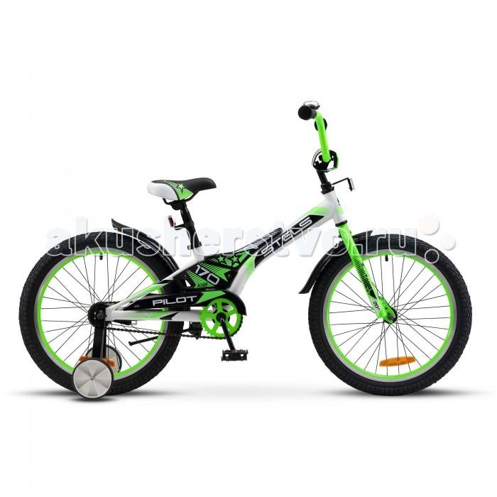 Велосипед двухколесный Stels Pilot-170 20 (V020)Pilot-170 20 (V020)Велосипед двухколесный Stels Pilot-170 20 (V020) предназначенный для детей в возрасте от пяти до девяти лет. Подходит для обучения и легких прогулок.   Особенности: без переключения передач прочная стальная рама жесткая вилка двойные алюминиевые обода ножные педальные тормоза стальные крылья защита цепи подножка звонок съемные боковые колесики мягкая накладка на руле диаметр колес: 20 дюймов.<br>