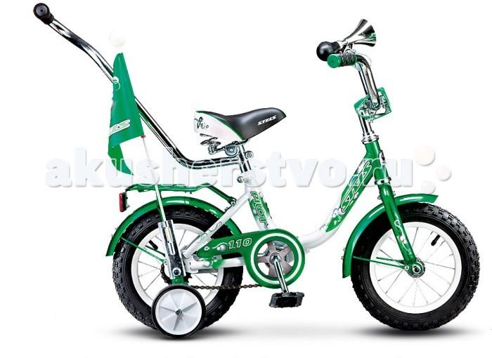 Велосипед двухколесный Stels Pilot-110 12 (2015)Pilot-110 12 (2015)Велосипед двухколесный Stels Pilot-110 12 (2015) подойдет для маленьких детей в возрасте от 1.5 до 3 лет.   На нем будет просто научится кататься, потому что Stels Pilot 110 12 оборудован боковыми колёсиками, помогающими удерживать равновесие. Рама велосипеда Pilot 110 12 изготовлена из стали, благодаря чему она обладает высокой прочностью.  Модель оборудована ножным тормозом, встроенным в заднюю втулку. Отличительной особенностью этого тормоза является то, что он очень прост в использовании, так что в нужный момент ребёнок сможет самостоятельно остановить велосипед без лишних усилий.  Комплектация: 1-скоростной рама  STEEL (10) задний ножной тормоз длинные стальные крылья поддерживающая ручка багажник высокий руль с накладками рюкзак флаг зеркало звонок дополнительные колеса<br>