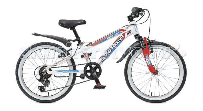 Велосипед двухколесный Stinger Magnet 20Magnet 20Велосипед двухколесный Stinger Magnet 20- это подростковый горный велосипед со спортивной геометрией для активного катания.   Рама выполнена из прочного и легкого алюминия, поэтому велосипед Stinger Magnet надежен и отлично управляется. Этот велосипед подходит как для новичков, так и для тех, кто уже уверенно чувствует себя на байке.  Амортизационная вилка обеспечивает мягкое прохождение кочек и других небольших препятствий, что делает велосипед универсальным.  Оборудование Shimano осуществляет переключение передач точно и быстро. Прочная и легкая алюминиевая рама высококачественный алюминий гарантирует легкость и надежность рамы.  Амортизационная вилка Suntour M3010 с ходом 50 мм - велосипед оборудован амортизационной вилкой для большего комфорта и езде по неровностям.  6 скоростей - наличие системы переключения скоростей поможет подобрать комфортный режим езды в зависимости от окружающих условий.  Оборудование Shimano Tourney - переключение передач от мирового лидера компании Shimano гарантирует четкую и гладкую работу в любых условиях.  Ободные тормоза - легкие и надежные ободные тормоза обеспечат комфортное торможение.  Универсальные покрышки Z-Axis - для лучшего сцепления на покрышках используется специальный рисунок, создающий условия для хорошей управляемости.<br>