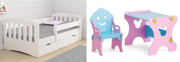 Кровати для подростков Столики Детям с бортиком Классика и столик со стульчиком Гном