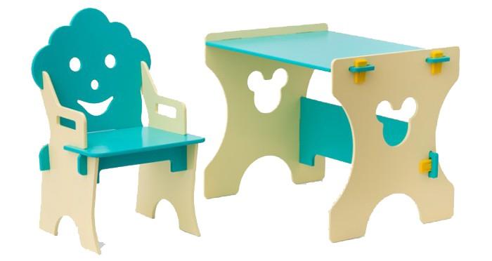 Столики Детям Столик и стульчик ГномСтолик и стульчик ГномДетский столик со стульчиком Гном прекрасно подходит для маленьких ребятишек до 4- х лет.  Поверхность стола очень гладкая, что позволяет комфортно малышу рисовать на бумаге. Ребёнок может самостоятельно передвигать лёгкий и устойчивый стул.  Специальные вырезные отверстия в виде фигурок веселых рожиц позволяют с удобством поднимать и перемещать мебель.  Собирается очень просто, как конструктор.  Материал: МДФ, покрыт экологичной краской на водной основе, безопасной для детей.  Размеры рабочей области стола: 50x45 см,  Высота стола: 45 см    Высота стульчика: 60 см; расстояние от пола до сиденья: 25 см<br>