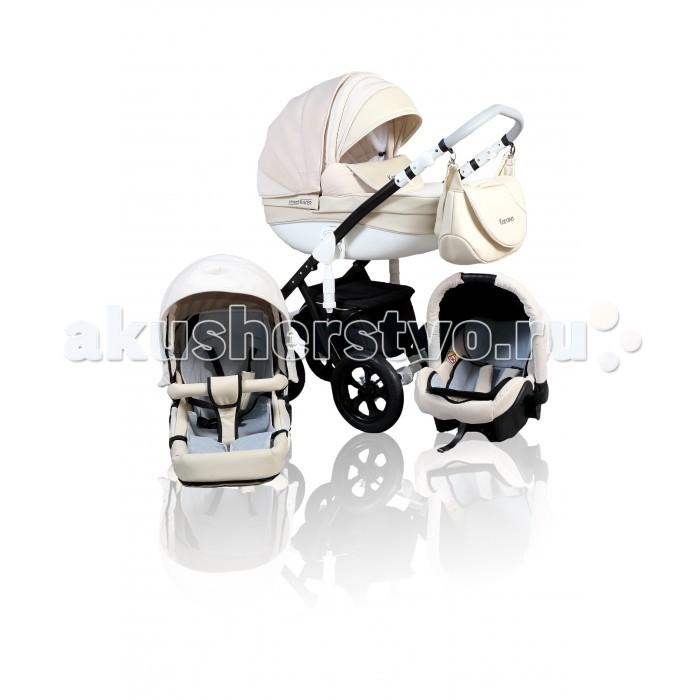 Коляска Street Racer Karona 3 в 1Karona 3 в 1Коляска Street Racer Karona 3 в 1 гарантирует вам комфортные прогулки с малышом в любую погоду и на любой дороге.   В комплект входят все необходимые аксессуары для мамы и крохи. Здесь есть даже рукавички для холодного времени года. Коляска 3 в 1 Street Racer Karona разработана с учетом анатомических особенностей развития ребенка.  Комплектация: четырехколесное шасси люлька автокресло реверсивный прогулочный блок накидки на ножки москитная сетка дождевик сумка рукавички корзина для покупок подстаканник Шасси сделано из прочной, но легкой стали для покрытия использована порошковая краска передние колеса по диаметру меньше задних передние колеса плавающие с фиксаторами задние колеса увеличенные, что обеспечивает коляске устойчивость и проходимость по неровным дорогам пружинные амортизаторы, смягчающие ход коляски, расположены на задних колесах тормоз ножной ручка обтянута эко-кожей, регулируется по высоте в нижней части шасси находится корзина для покупок Люлька устанавливается лицом к маме люлька каркасная, жесткая дно ровное, подголовник регулируется по высоте внутренний съемный чехол сделан из хлопка в комплект входит матрасик капор максимально закрывает ребенка от солнца и осадков в капюшоне предусмотрен большой козырек от солнца в комплект  входит чехол на ножки в ветреную погоду у чехла поднимается бортик, который можно пристегнуть к солнцезащитному козырьку, закрыв ребенка полностью внешняя обивка - водостойкая ткань в сочетании с эко-кожей Прогулочный блок устанавливается в обоих направлениях оборудован пятиточечными ремнями безопасности  для комфортных прогулок предусмотрен съемный мягкий матрасик под спинку малыша спинка раскладывается капор складывается в нескольких положениях капюшон сделан из водоотталкивающей ткани в комплект входит бампер, к которому крепится паховая перемычка накидка на ножки крепится при помощи кнопок Автокресло относится к группе 0+ оборудовано трехточечными ремнями безопасности капор скла