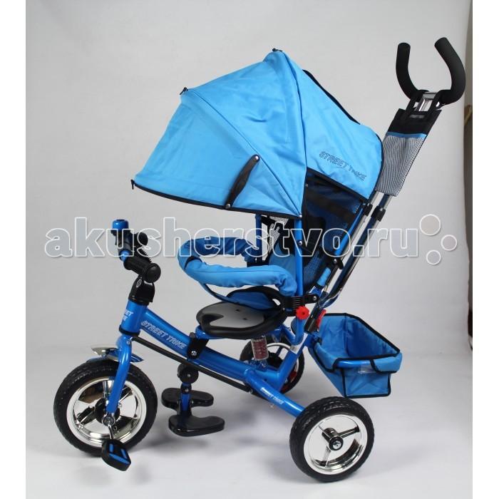 Велосипед трехколесный Street trike A03A03Велосипед трехколесный Street Trike A03 с ручкой толкателем и капюшоном. Все велосипеды торговой марки разработаны для детей от полутора до трех лет.   Особенности: защитный разъёмный поручень максимальная нагрузка 25 кг cпинка с регулировкой угла наклона, 3 положения дополнительный кармашек, который крепится на ручке управления две мягкие подушечки на спинке удобные, не проскальзывающие педали из рифленого пластика металлическая хромированная ручка хромированные пластиковые диски эргономичное и удобное сиденье с мягкой тканевой подушкой складывающиеся подножки складывающийся двухсегментный капюшон со смотровым окошком возможность блокировки задних колеса тканевая багажная корзина для вещей и игрушек стильный звонок колеса из мягкого ПВХ дополнительная центральная амортизирующая пружина под сидением. В конструкции велосипедов учтены все потребности растущего ребенка. Каждая модель легко трансформируется из почти коляски в полновесный трехколесный велосипед.<br>