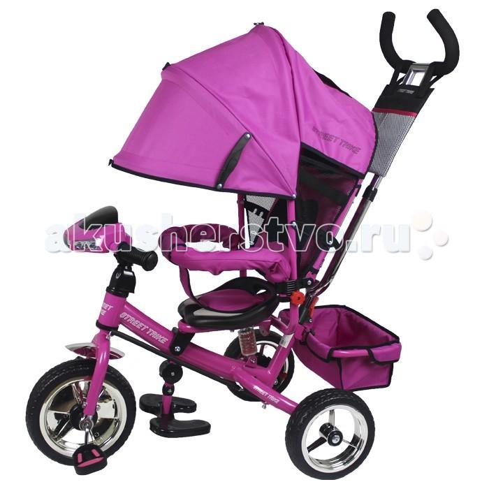 Велосипед трехколесный Street trike A03АA03АВелосипед трехколесный Street trike A03А с ручкой, толкателем, капюшоном на больших надувных колёсах, с музыкальной панелью.  Особенности: полиуретановые колёса (10 и 8 дюймов) ручка управления движением позволяет родителям одной рукой контролировать поездку и управлять велосипедом защитный разъёмный поручень складывающиеся подножки складывающийся двух сегментный капюшон со смотровым окошком спинка с регулировкой угла наклона, 3 положения удобные не проскальзывающие педали из рифленого пластика металлическая хромированная ручка хромированные пластиковые диски эргономичное и удобное сиденье с мягкой тканевой подушкой две мягкие подушечки на спинке возможность блокировки задних колес (тормоз) тканевая багажная корзина для вещей и игрушек  музыкальная панель (свет, звук) дополнительный кармашек для мелочей, который крепится на ручке управления  дополнительная центральная амортизирующая пружина под сидением<br>
