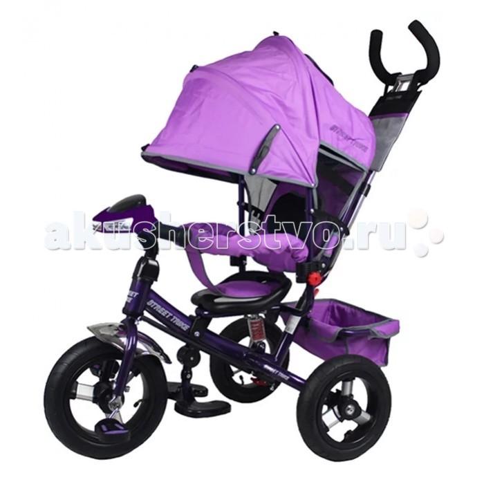 Велосипед трехколесный Street trike А03DА03DВелосипед трехколесный Street trike А03D с ручкой, толкателем, капюшоном на больших надувных колёсах, с музыкальной панелью.  Особенности: большие надувные колёса (12 и 10 дюймов) ручка управления движением позволяет родителям одной рукой контролировать поездку и управлять велосипедом; защитный разъёмный поручень складывающиеся подножки складывающийся двух сегментный капюшон со смотровым окошком спинка с регулировкой угла наклона, 3 положения удобные не проскальзывающие педали из рифленого пластика металлическая хромированная ручка хромированные пластиковые диски эргономичное и удобное сиденье с мягкой тканевой подушкой две мягкие подушечки на спинке возможность блокировки задних колес (тормоз) тканевая багажная корзина для вещей и игрушек музыкальная панель (свет, звук) переднее колесо оборудовано выключателем педалей дополнительный кармашек для мелочей, который крепится на ручке управления  дополнительная центральная амортизирующая пружина под сидением<br>